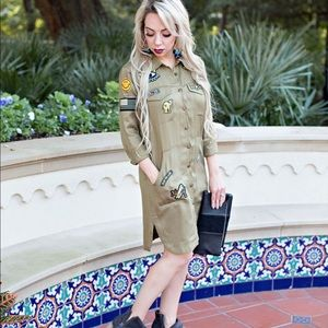 Patchwork military style dress